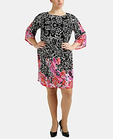Plus Size Angel-Sleeve Shift Dress