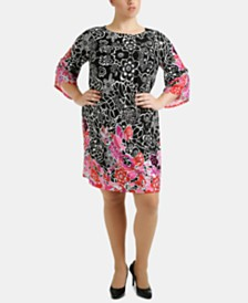 NY Collection Plus Size Angel-Sleeve Shift Dress