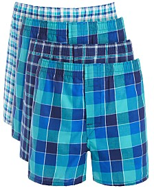 Hanes Big Boys 4-Pk. Tagless® Plaid Boxers