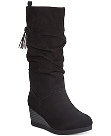 Black Little and Big Girls Wedge Dress Boots