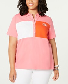 Tommy Hilfiger Plus Size Colorblocked Polo Top, Created for Macy's