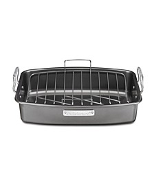 "Aluminized Steel 17"" x 13"" Nonstick Roaster with V-Rack"