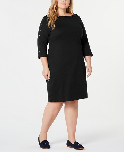 Plus Size Cotton Boat-Neck Studded Dress, Created for Macy\'s