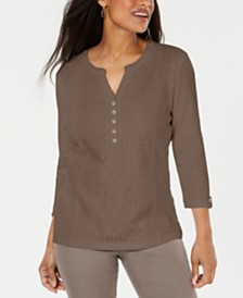 Karen Scott Eyelet-Front Henley Top, Created for Macy's