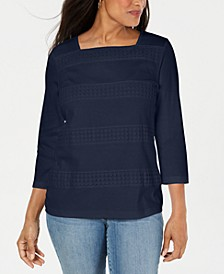 Square-Neck Lace-Stripe Top, Created for Macy's