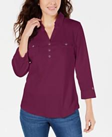 Karen Scott Petite 3/4-Sleeve Polo Shirt, Created for Macy's