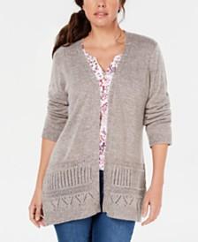 Karen Scott Pointelle Marled Cardigan, Created for Macy's