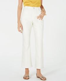 Bar III Marley High-Waist Frayed-Hem Cropped Pants, Created for Macy's