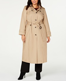London Fog Plus Size Hooded Maxi Raincoat