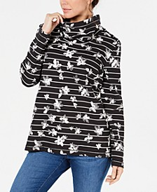 Petite Floral-Print Striped Funnel-Neck Top, Created For Macy's