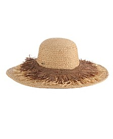 Braided Raffia Hat with Fringe