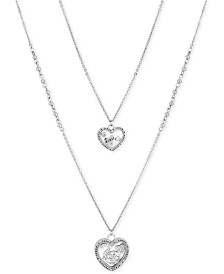 "GUESS Silver-Tone 2-Pc. Set Crystal Heart Pendant Necklaces, 18""/36"" + 2"" extender"