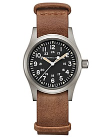 Unisex Swiss Mechanical Khaki Field Brown Leather Strap Watch 38mm