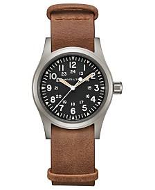 Hamilton Unisex Swiss Mechanical Khaki Field Brown Leather Strap Watch 38mm