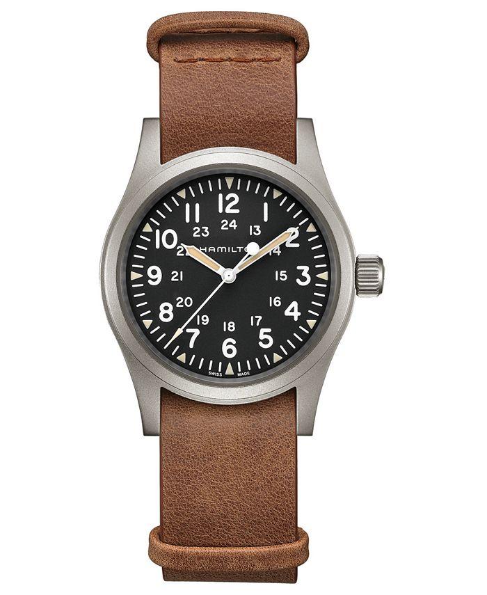 Hamilton - Unisex Swiss Mechanical Khaki Field Brown Leather Strap Watch 38mm