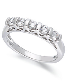 Certified Five-Stone Diamond Band Ring in 14k White Gold (1/2 ct. t.w.)