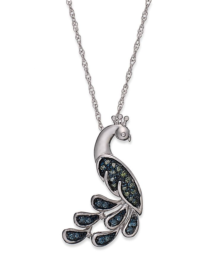 Macy's - Sterling Silver Necklace, Blue and Green Diamond Accent Peacock Pendant (1/10 ct. t.w.)