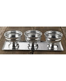St. Croix KINDWER Hammered Aluminum Tray and 3 Bowl Set