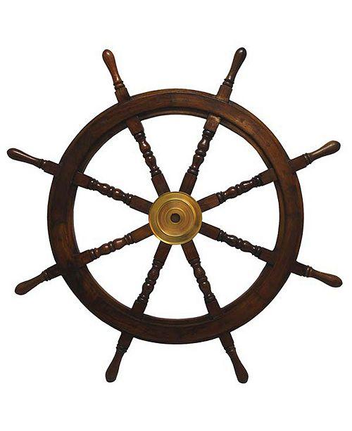 "St. Croix KINDWER 36"" Wooden Ships Wheel with Brass Center"