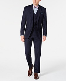 Men's Classic-Fit UltraFlex Stretch Navy Blue Pinstripe Vested Suit Separates