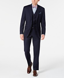 Lauren Ralph Lauren Men's Classic-Fit UltraFlex Stretch Navy Blue Pinstripe Vested Suit Separates