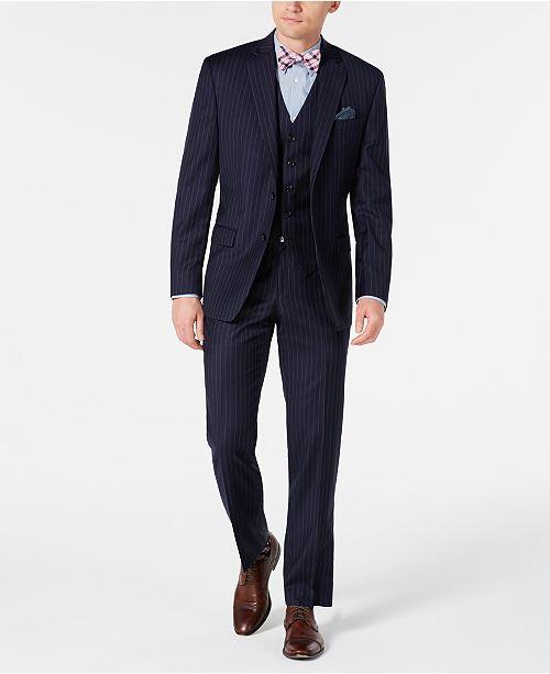 Lauren Ralph Lauren Men's Classic-Fit UltraFlex Stretch Navy Blue Pinstripe Vested Suit Separates