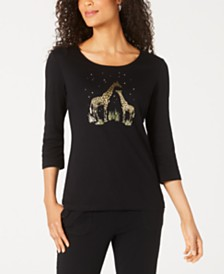 Karen Scott Petite Giraffe Foil Top, Created for Macy's