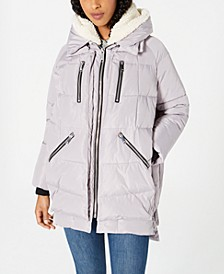 Oversized Hooded Fleece-Lined Puffer Coat