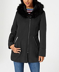 Juniors' Faux-Fur-Trim Hooded Coat