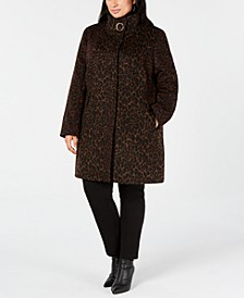 Plus Size Leopard-Print Coat