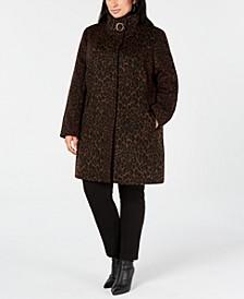 Plus Size Leopard-Print Coat