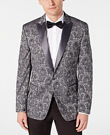 Men's Modern-Fit Stretch Silver Paisley Jacquard Dinner Jacket, Created for Macy's