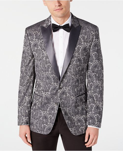 Ryan Seacrest Distinction Men's Modern-Fit Stretch Silver Paisley Jacquard Dinner Jacket, Created for Macy's