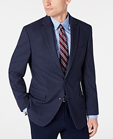 Men's Modern-Fit THFlex Stretch Blue/Burgundy Tic Sport Coat