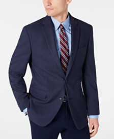 Tommy Hilfiger Men's Modern-Fit THFlex Stretch Blue/Burgundy Tic Sport Coat