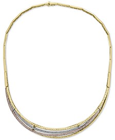 "EFFY® Diamond Tri-Color 16"" Statement Necklace (2 ct. t.w.) in 14k Gold, 14k White Gold and 14k Rose Gold"