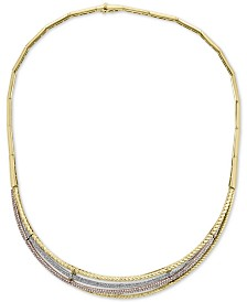 """EFFY® Diamond Tri-Color 16"""" Statement Necklace (2 ct. t.w.) in 14k Gold, 14k White Gold and 14k Rose Gold"""