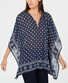 Michael Michael Kors Printed O-Ring Poncho Top