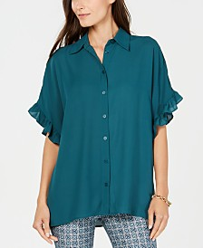 Michael Michael Kors Ruffle-Sleeve Button-Up Top