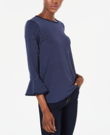 Michael Michael Kors Dot-Print Bell-Sleeve Top, Regular & Petite Sizes