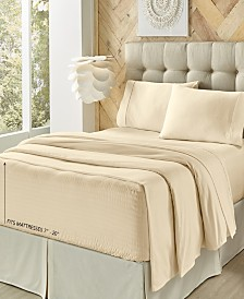 J. Queen New York Royal Fit Ivory 300 TC Cotton-blend Twin Sheet Set