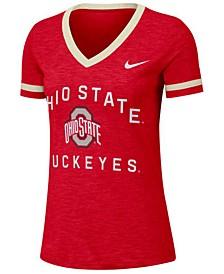 Women's Ohio State Buckeyes Slub Fan V-Neck T-Shirt