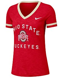 Nike Women's Ohio State Buckeyes Slub Fan V-Neck T-Shirt