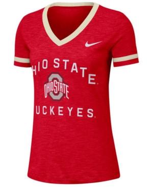 Nike Women's Ohio State Buckeyes Slub Fan V-Neck T-Shirt