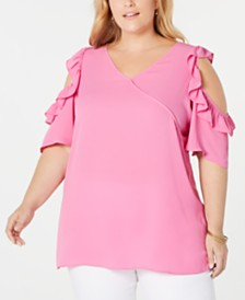 NY Collection Plus Size Ruffled Cold-Shoulder Top