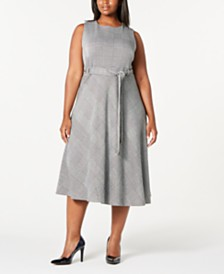 Calvin Klein Trendy Plus Size Plaid Belted Fit & Flare Dress
