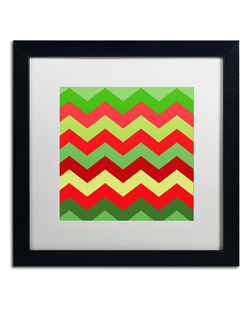 "Trademark Global Color Bakery 'Xmas Chevron' Matted Framed Art - 16"" x 16"""