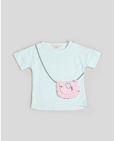 Big, Little, & Toddler Girls Short Sleeve Striped Purse Tee