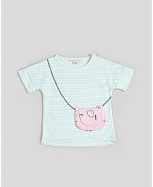 Kinderkind Big, Little, & Toddler Girls Short Sleeve Striped Purse Tee