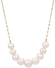 """Cultured Freshwater Pearl (6 - 8-1/2mm) Graduated 18"""" Collar Necklace in 14k Gold"""